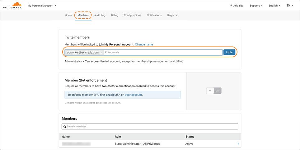 screenshot of Members tab in the Cloudflare dashboard