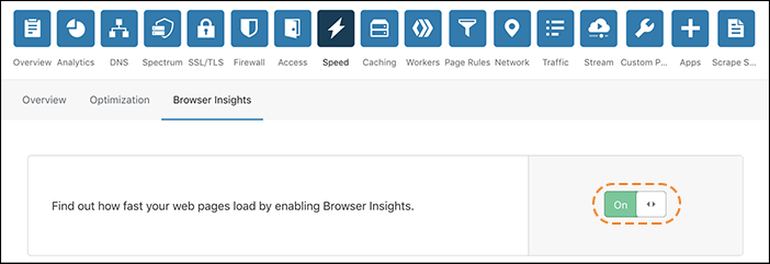 Screenshot showing how to enable Browser Insights.