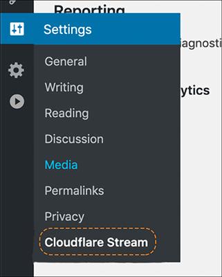 img of Cloudflare Stream plugin in left nav of WordPress site