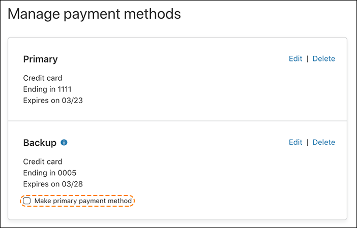 screenshot of the Manage payment methods screen in the Cloudflare dashboard with an orange dotted circle around the Make primary payment method checkbox.