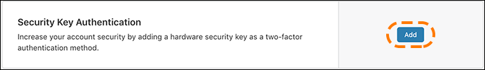 screenshot of the 2fa ui showing the security key authentication