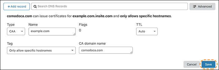 screenshot of the CAA records for comodoca.com in the Cloudflare dashboard tagged to only allow specific hostnames