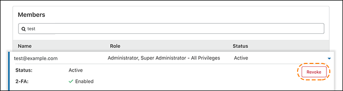screenshot of member detail in the Cloudflare dashboard with the revoke button highlighted