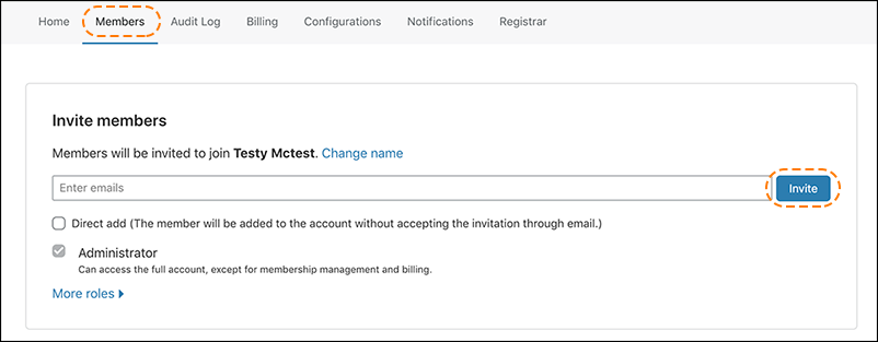 screenshot of the Members tab and the Invite members card in the Cloudflare dashboard