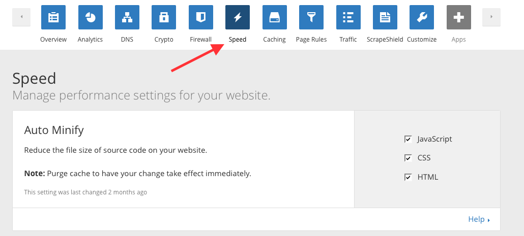 Old URL: https://support.cloudflare.com/hc/en-us/article_attachments/201539228/AutoMinify.png Article IDs: 200168196   How do I minify HTML, CSS and JavaScript to optimize my site?