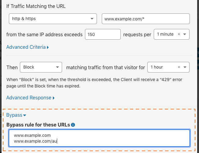 Old URL: https://support.cloudflare.com/hc/article_attachments/360023091091/cf-firewall-rate_limiting-create-rule-bypass.png Article IDs: 115001635128 | Configuring Rate Limiting in the Cloudflare Dashboard