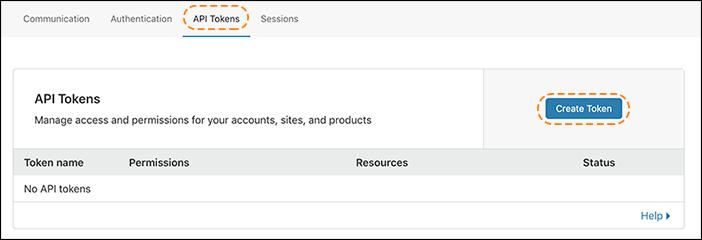capture d'écran de l'écran API Tokens (Jetons d'API) sur le tableau de bord Cloudflare
