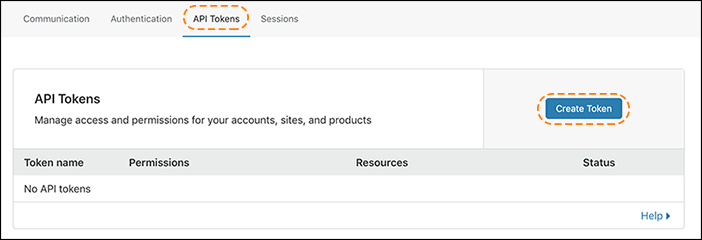 captura de la pantalla de tokens de API en el panel de control de Cloudflare con