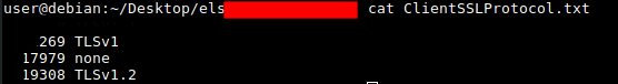 ELSログをソートする際の出力例のスクリーンショット