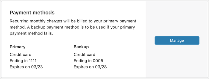 screenshot of payment info tab within the billing ui in cloudflare dashboard with a primary and backup payment method