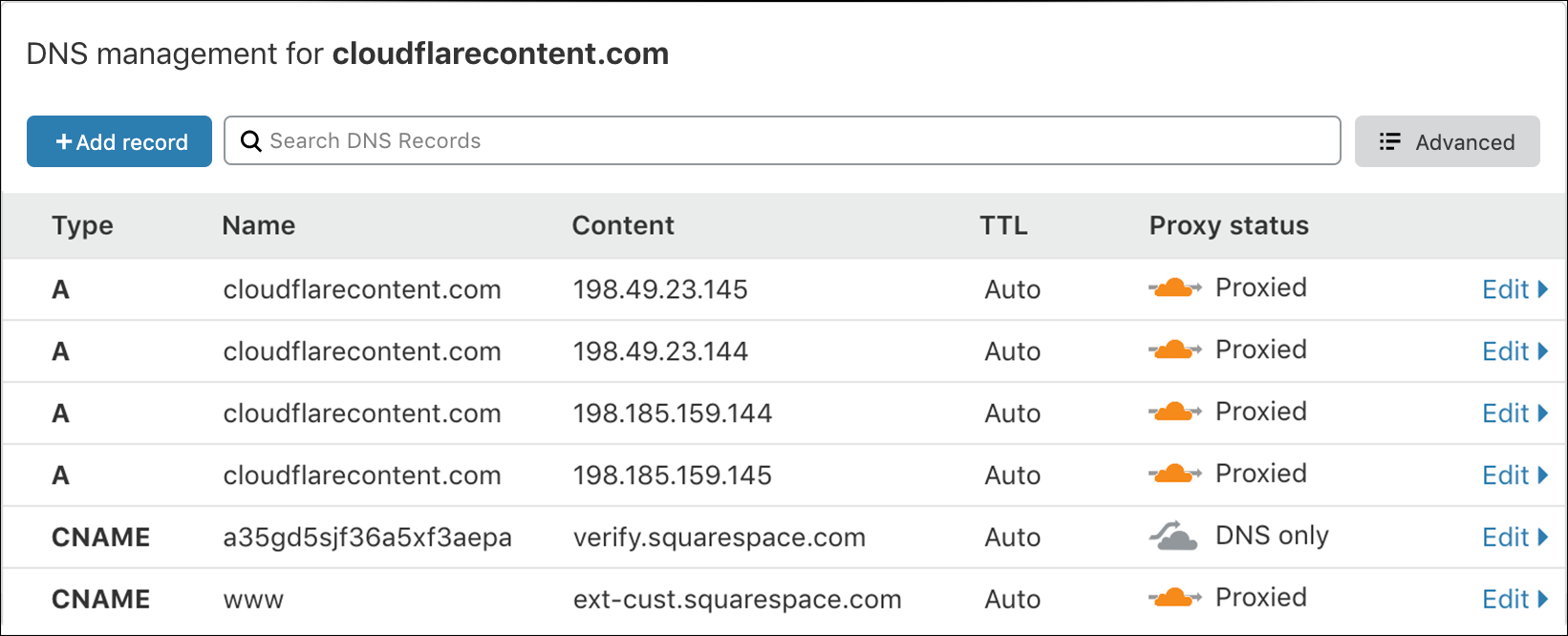 screenshot of the cloudflarecontent.com DNS records from Squarespace