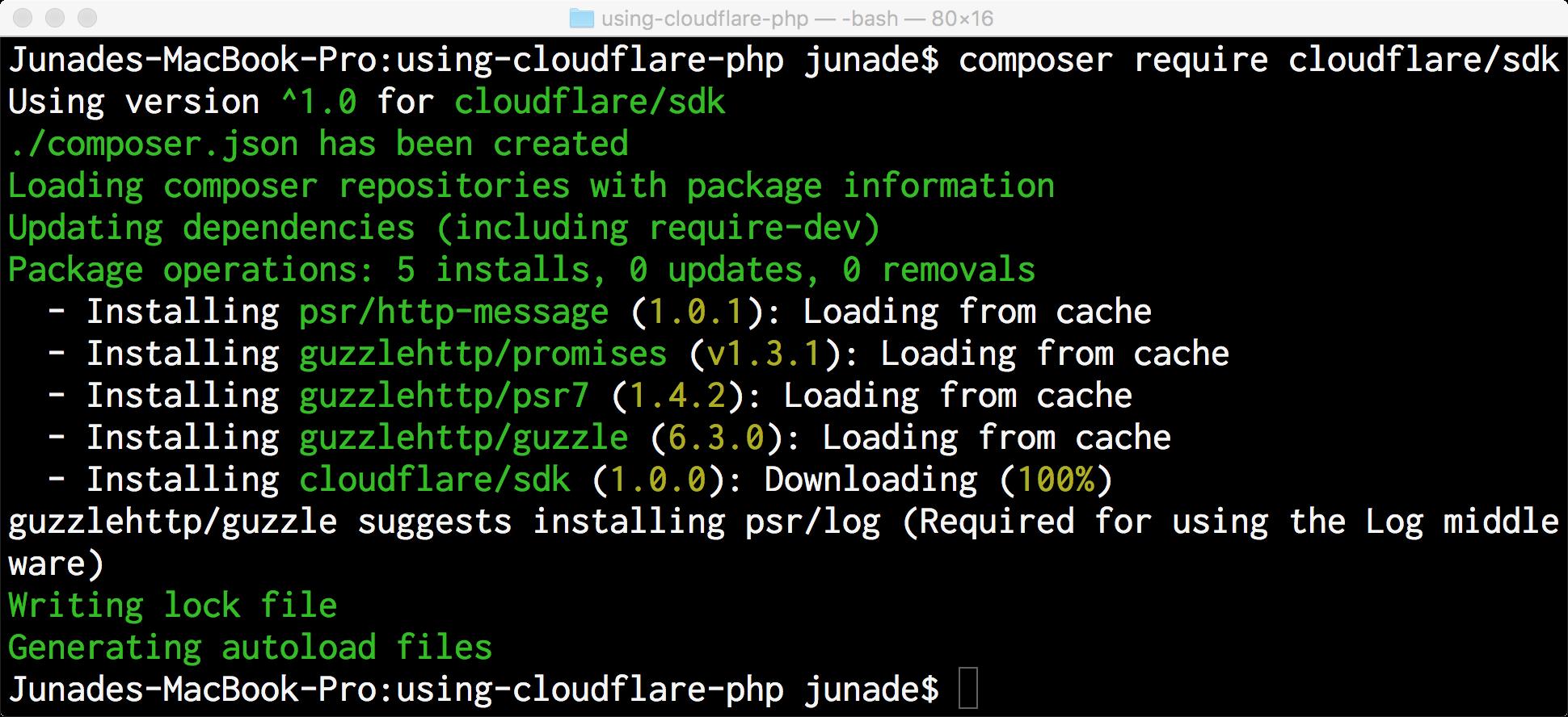 Code - composer require cloudflare/sdk
