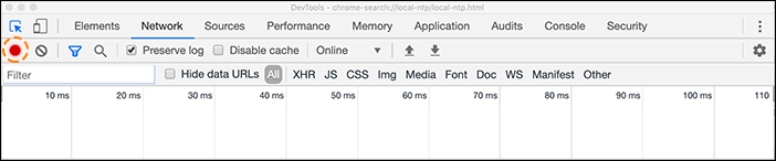 HAR screenshot of record button in chrome dev tools