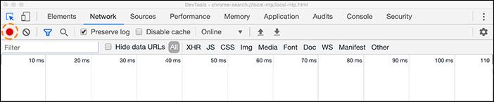 Captura de tela HAR do botão de registro nas ferramentas de desenvolvimento do chrome