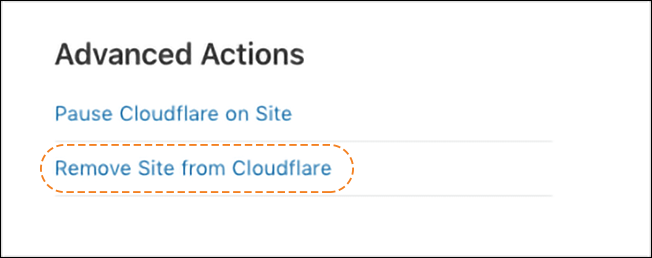 screenshot of advanced actions section of Cloudflare dashboard