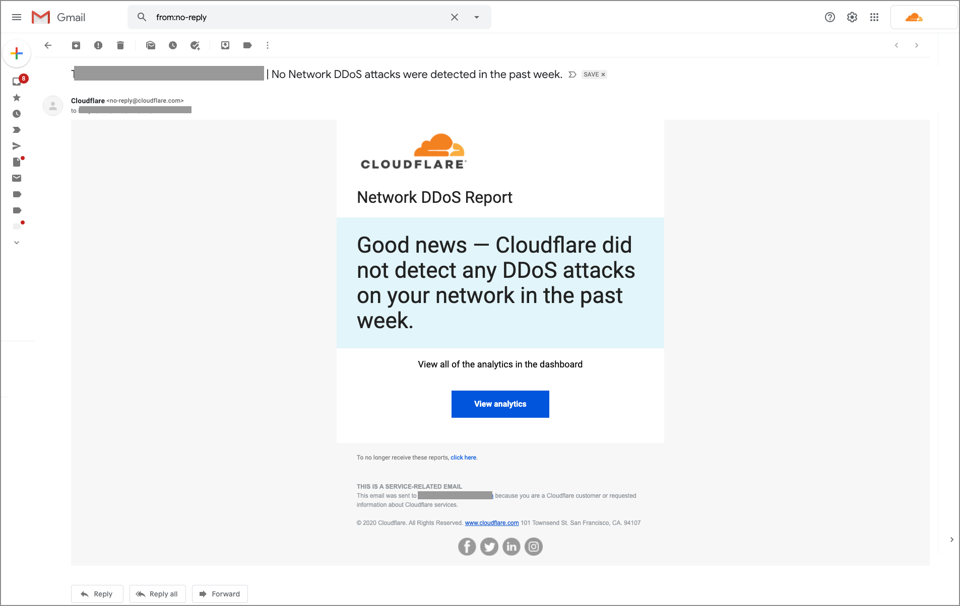 Exemple de rapport DDoS Cloudflare lorsque Cloudflare n'a détecté aucune attaque durant la semaine passée.