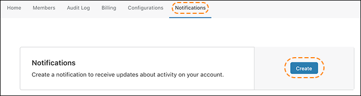 screenshot of the Cloudflare dashboard showing the notifications tab and the notifications card with the create button outlined.