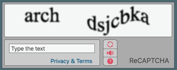 Beispiel eines reCAPTCHA