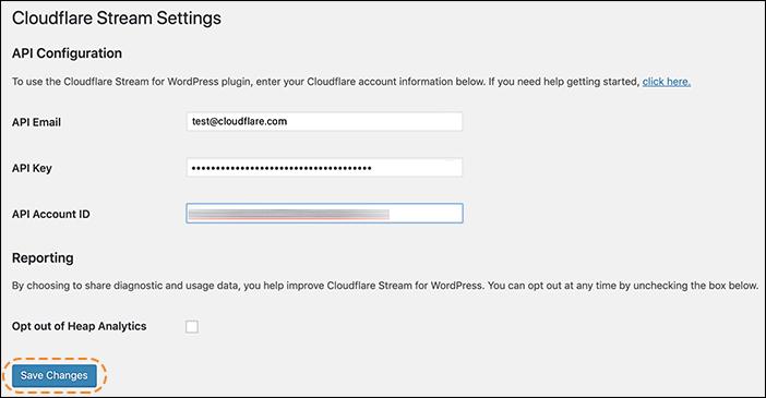 img of the WordPress Cloudflare Stream plugin settings screen