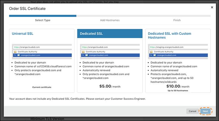 사용자 정의 호스트 이름이 있는 전용 SSL 인증서