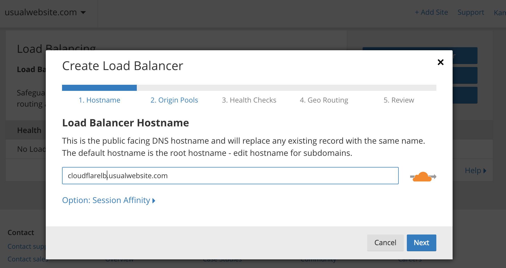 Old URL: https://support.cloudflare.com/hc/article_attachments/115003974251/Hostname_CF_Load_balancer.png Article IDs: 115003384591 | Using Kubernetes on GKE and AWS with Cloudflare Load Balancer