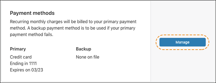 screenshot of the payment methods card in the Cloudflare dashboard with no backup payment method on file and orange dotted line drawn around the Manage button.