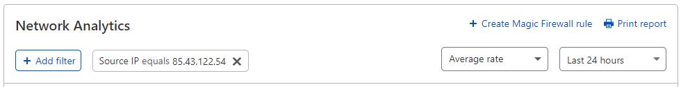 "Screenshot – Link ""Firewall-Regel erstellen"" in Network Analytics."