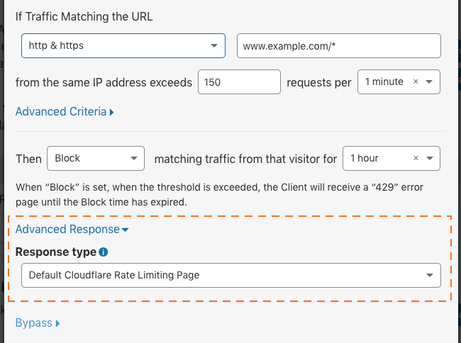 Old URL: https://support.cloudflare.com/hc/article_attachments/360023060072/cf-firewall-rate_limiting-create-rule-advanced_response.png Article IDs: 115001635128 | Configuring Rate Limiting in the Cloudflare Dashboard