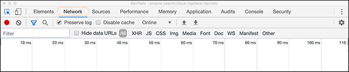 Captura de tela da guia de rede HAR das ferramentas de desenvolvedor do Chrome