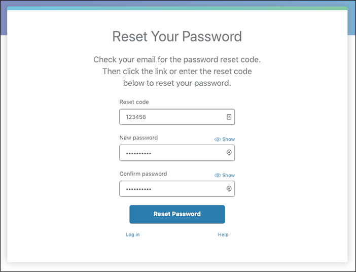 screenshot of the reset your password screen with a sample reset code and new password