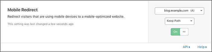 Old URL: https://support.cloudflare.com/hc/article_attachments/360034882552/speed_mobileredirect_enabled.png Article IDs: 200168336   Understanding Cloudflare Mobile Redirect