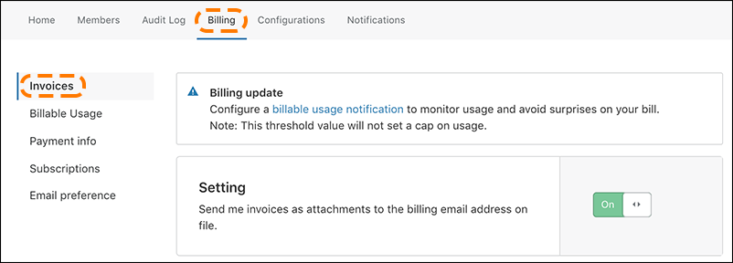 screenshot of Cloudflare billing UI with email notification setting turned on and  'billing' and 'invoices' highlighted.