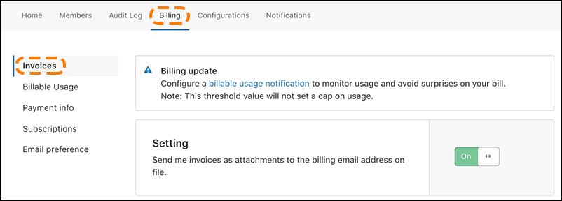 이메일 알림 설정이 켜지고 '요금 청구' 및 '청구서'가 강조 표시된 Cloudflare 요금 청구 UI의 스크린샷