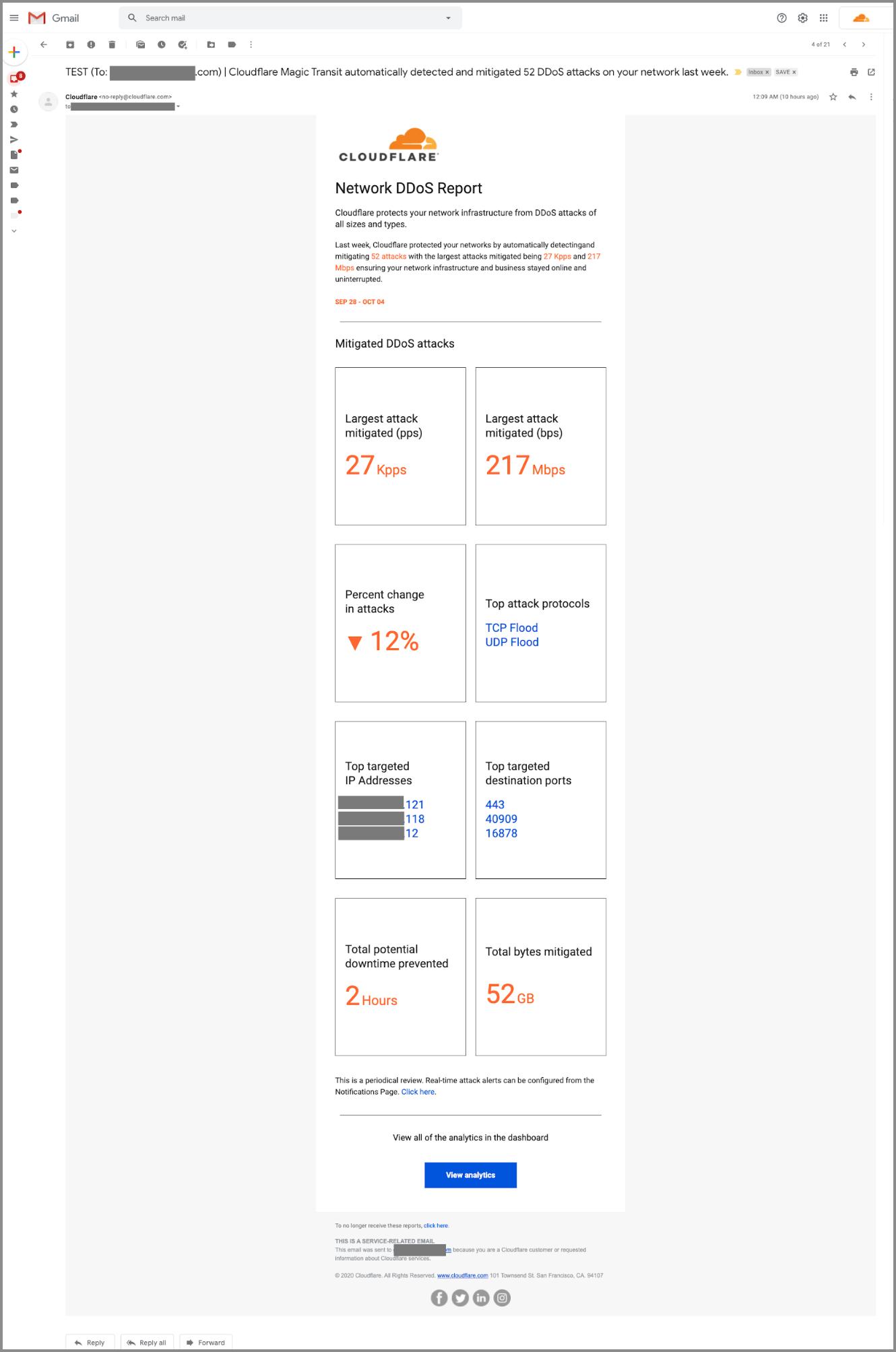 Capture d'écran d'un exemple de rapport DDoS.