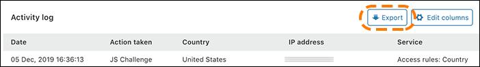 Screenshot, der zeigt, wie Sie Daten aus dem Aktivitätsprotokoll der Firewall-Analytics exportieren.