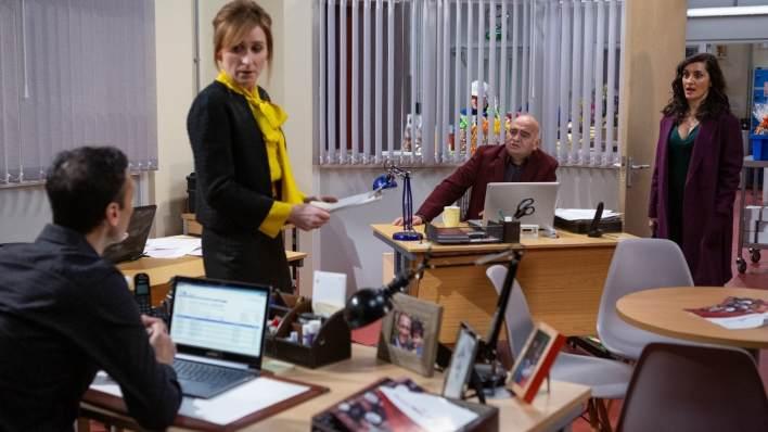 Jai, Laurel and Manpreet in the factory - Emmerdale - ITV