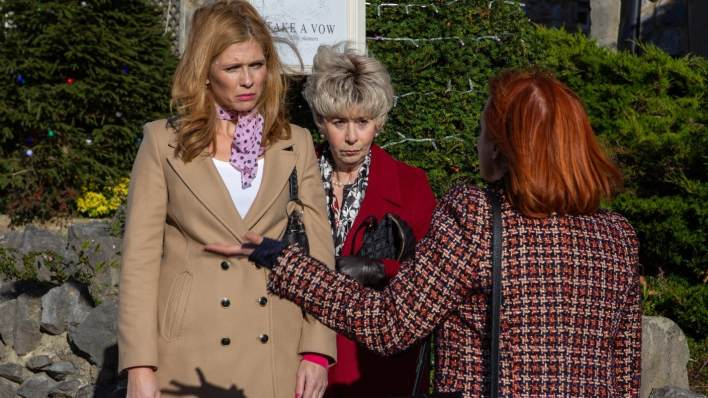 Bernice, Dianwe and Nicola outside on Main St - Emmerdale - ITV
