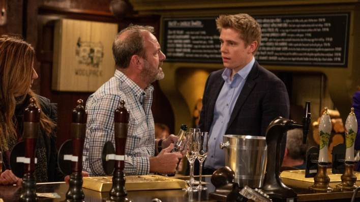 Harriet, Jimmy and Robert in the Woolpack - Emmerdale - ITV