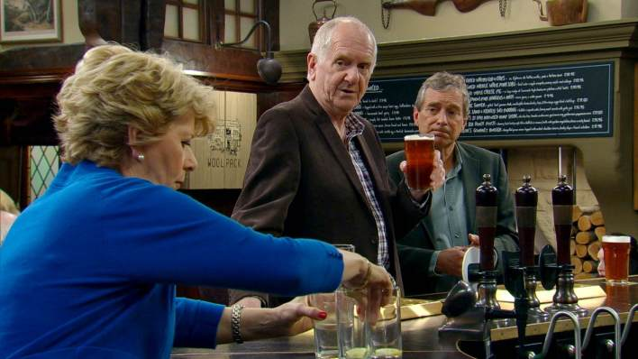 Diane, Ashley and Doug in the Woolpack - Emmerdale - ITV