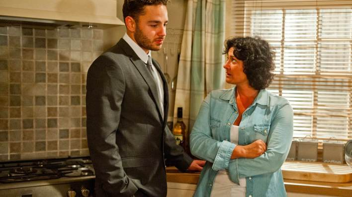 Adam and Moira in Butlers Farm - Emmerdale - ITV