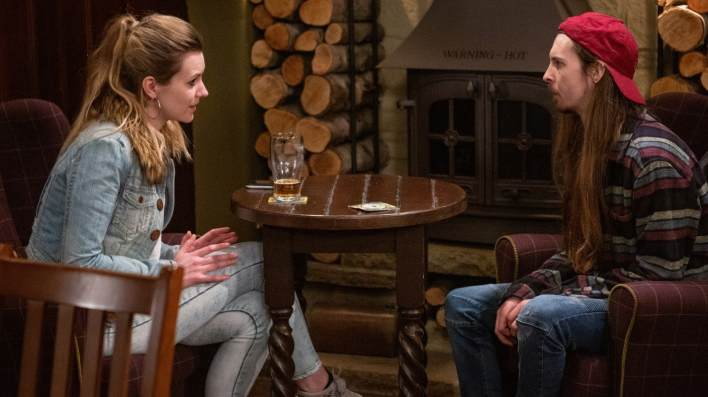 Dawn and Ryan chatting - Emmerdale - ITV