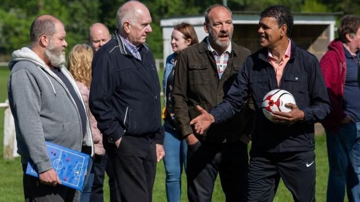 Football match, Chris Kamara - Emmerdale - ITV