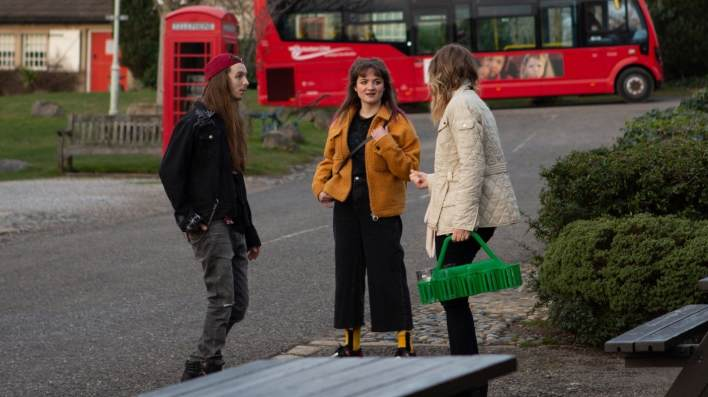 Ryan and Charity outside of the pub - Emmerdale - ITV