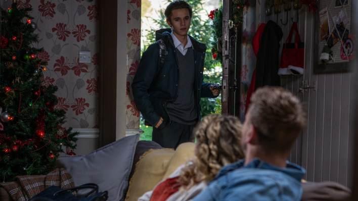Jacob, Maya and David  in Farrars Barn - Emmerdale - ITV