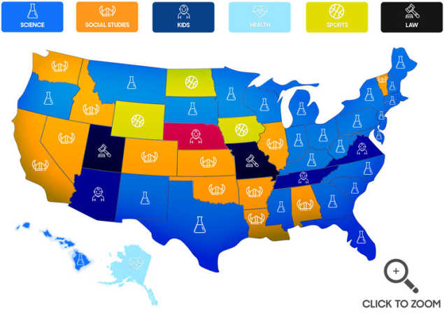 Popular content categories by state
