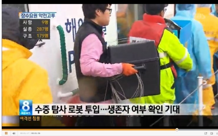 marine salvage operation Inspection with Camera in Korea Ferry Disaster