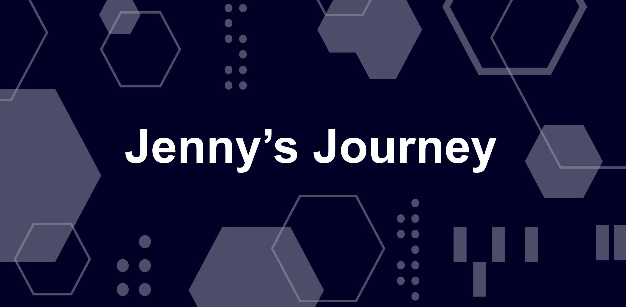 珍妮的旅程,在蓝色和白色的几何图案的白色字母