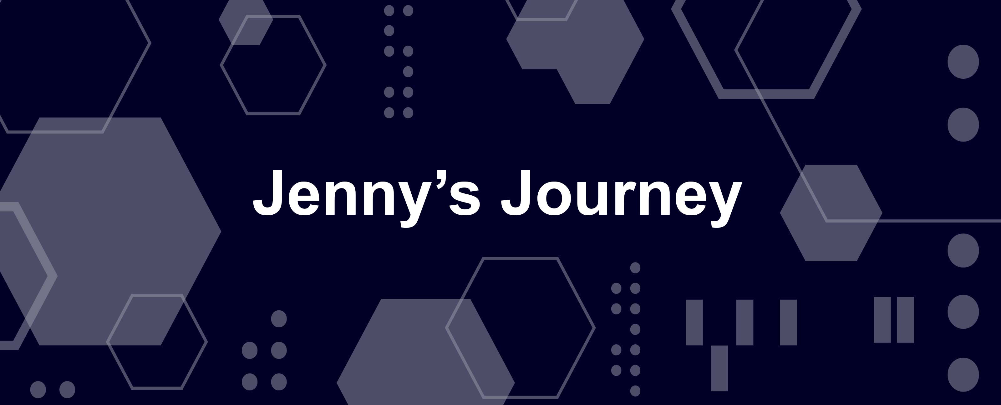 """Jenny's Journey"" in white letters of white and blue geometric background"