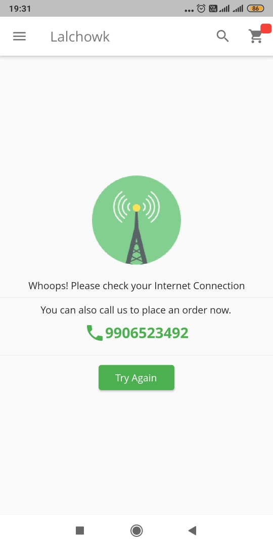 The Lalchowk app has a pop-up message with a number for users to call and place their order in case of an internet suspension.