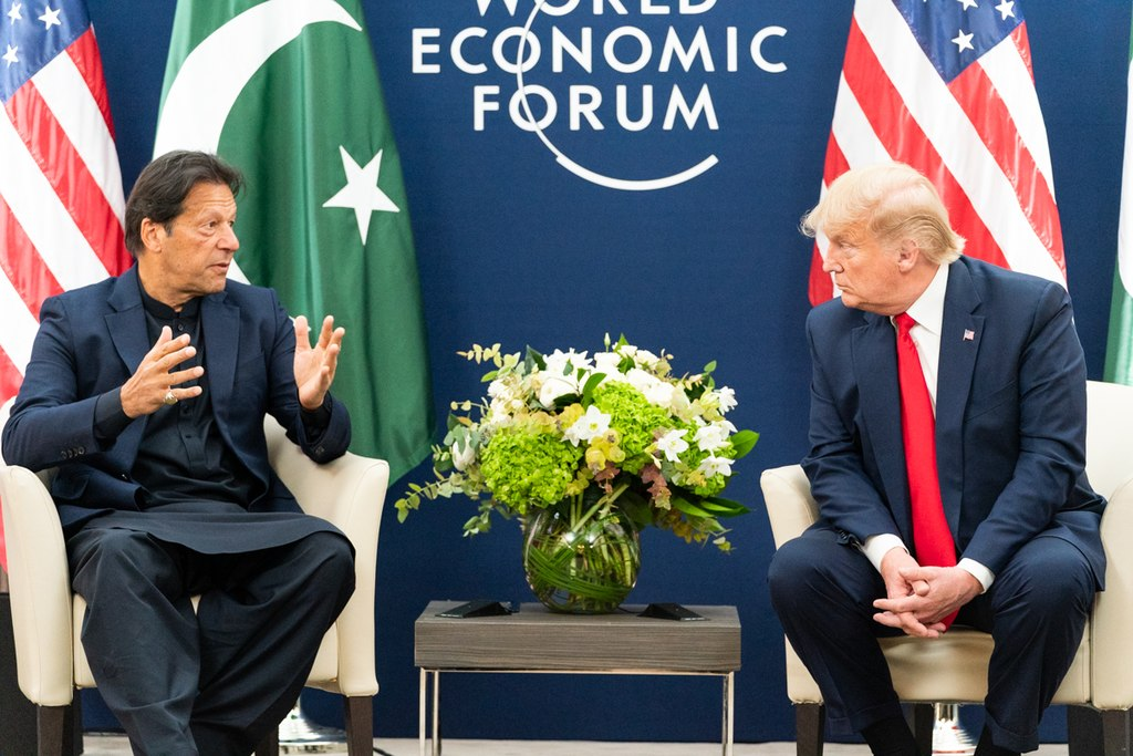 Donald J. Trump meets with the Prime Minister of the Islamic Republic of Pakistan Imran Khan Tuesday, Jan. 21, 2020, at the World Economic Forum in Davos, Switzerland. (Official White House Photo by Shealah Craighead, Wikimedia Commons)